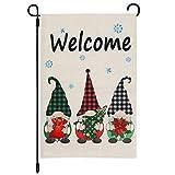 CYNOSA Christmas Gnomes Winter Garden Flag, Burlap Yard Winter Flag Vertical Double Sided, Dwarfs with Snowflake Merry Christmas Farmhouse Burlap Yard Outdoor Home Decor 12.5 x 18 Inches