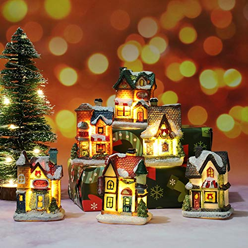 Resin Christmas Houses Snow Christmas Village Building Santa House LED Light Up Tiny Houses Figurines Tabletop Ornaments for Kids Gifts Indoor Home Holiday Decor (Christmas Village Set)
