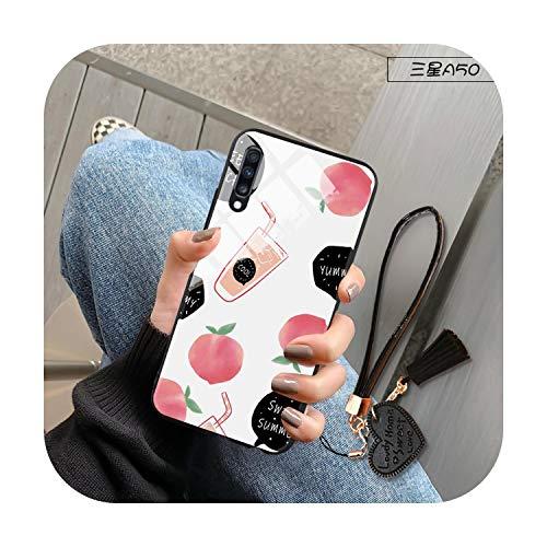 Funda para Samsung Galaxy A10 A20 e A30 A80 A90 A5 A7 A8 J5 J4 2017 2018 A21 A51 A81 S11 Plus Lite Fruits Cubierta de vidrio templado - Durazno para A20e
