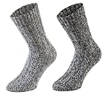 Tobeni 4 Paar warme Damen Herren Norweger Socken Wintersocken Schafwollsocken vorgewaschen Unisex Farbe Grau-Töne Grösse 39-42