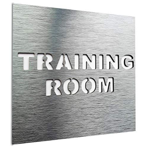 BSYDESIGN Aluminium Gym Türschild - Beschilderung des Fitnessraums - Hinweisschild Fitnessraum Fitness - Wandschild -120 x 120 mm - Verwendung im Innen und Außenbereich