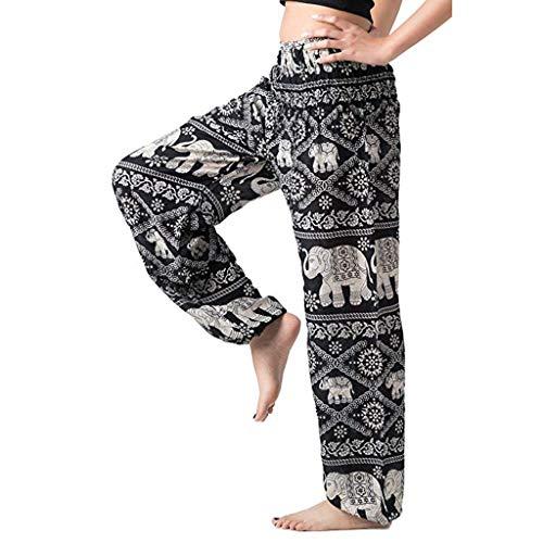 Femmes taille haute impression Bohême taille élastique Pantalon décontracté large legging grossesse cargo été hiver imprimé yoga sport cargo militair slim fluide stretch jogging court blanc (O, L)