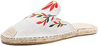 Cosplay-X Mules for Women, Women Embroidery Linen Mule Slippers, Woman Slip on Backless Loafers