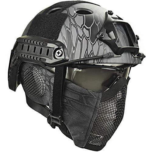 Bulawlly Airsoft Helm Tactical Schnell Helm, Protect-Ohr-Stahlmaske Goggle Sets für Airsoft Paintball Schutz Anti-Riot Leichten Helm