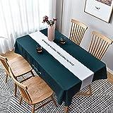 LIUJIU Mantel rectangular de lino sintético, 140 x 220 cm