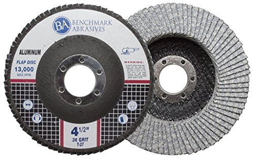 Benchmark Abrasives 4.5' x 7/8' Type 29 Stearate Coated Flap Disc for Aluminum (36 Grit)