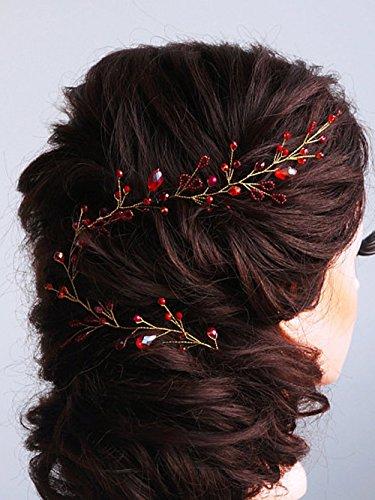 fxmimior Brautschmuck rot Haarschmuck Kristall Haarband Leaf Stirnband Vine Diadem Abend Party individuell Kranz Hochzeit Genickstück
