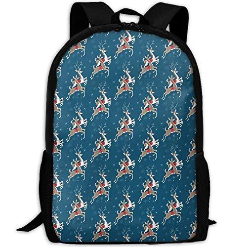 TTmom Unisex College Backpacks Bookbag, Vintage Reindeer Christmas College Laptop Backpack Student School Bookbag Rucksack Travel Daypack