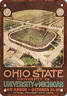 HTFDS 1927 Ohio State vs. Michigan Vintage Look Reproduction Metal Tin Sign 8x12 inches