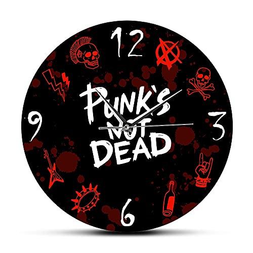 NIGU Reloj de pared moderno para mujer, estilo punk rock, con palabras no muertas y elementos de diseño decorativos, banda de música, concierto, decoración para fiestas regalos para hombres