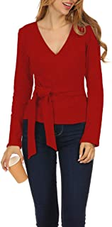 Women's Sexy Wrap V Neck Long Sleeve Knit Top Tie Front T Shirts