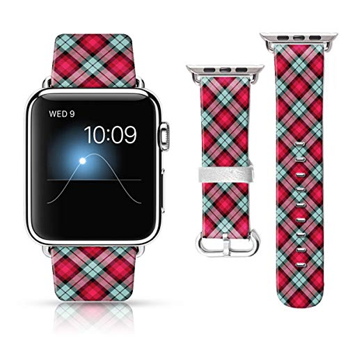 LAACO Leather Band Compatible with iWatch SE Series 6 38mm 40mm, Genuine Leather Fadeless Pattern Printed Vintage Replacement Strap Classic Bands Compatible with iWatch 6/5/4/3/2/1 Red Plaid