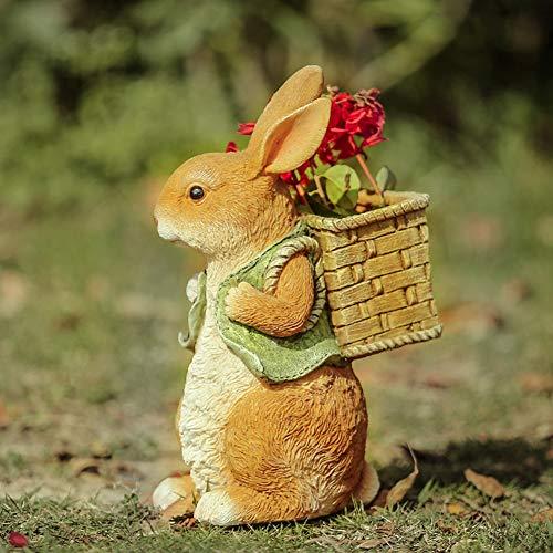 Rabbit Garden Planter Outdoor Statue, Bunny with Pack Basket