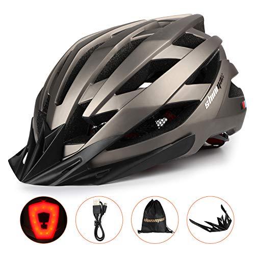 KINGLEAD Casco de Bicicleta con Luz de Seguridad y Visera de Protección, Casco de Ciclo Protegido Unisex Certificado CE para Andar en Bicicleta al Aire Libre Ajustable Superligero (Titanio 3)