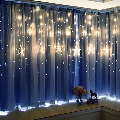 Lichterkette , warmes Wei? , Feenvorhang Pentagramm Sternlichterkette , Gartenhaus Schlafzimmer Weihnachtsferien Dekoration , Lichterkettenvorhanglicht , LED-Lichterkette
