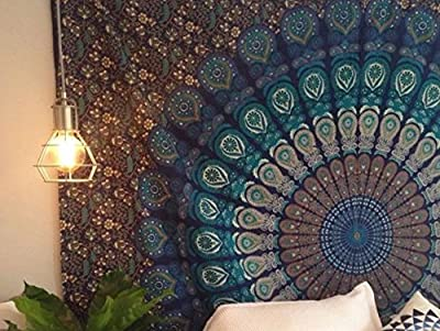 Indian Mandala Wall Hanging Tapestry, Hippie Hippy Tapestries, Feather Peacock Print Tapestry, Cotton Handmade Badsheet, Twin Size Bedding Bedspread, Picnic Beach Sheet, Table Cloth, Decorative Wall Hanging, 54x86 Inch. By Bhagyoday 54x86 Inch. Blue