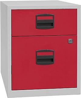 Bisley Caisson mobile hauteur bureau PFA, 1 tiroir, 1 tiroir pour DS, gris clair / rouge cardinal | PFAM1S1F506 - Armoire ...