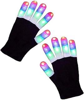 Playmate Led Gloves Light Up Rave Glow Gloves 3 Colors 6 Modes Flashing Halloween Costume Birthday EDM Party Christ-mas Li...