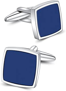 Blue Onyx Cufflinks Platinum Plated Cuff Links Set Gemstone Reiki Jewelry Gifts for Men
