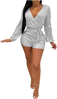 neveraway Women's V-Neck Long Sleeve Belted Sexy Sparkly Shorts Romper Playsuit