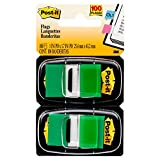 Post-it Standard Page Flags in Dispenser  1in Wide, Green 100 Flags, 680-GN2