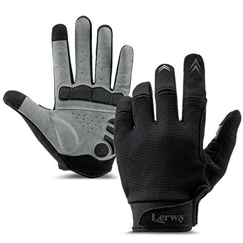 LERWAY Fahrradhandschuhe für Herren Damen, Touchscreen Vollfinger Rennrad Mountainbike Handschuhe MTB Handschuhe Schwarz (Schwarz-M)