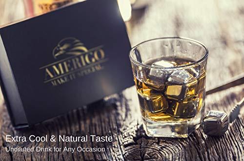 Exklusives Edelstahl Whisky Steine Geschenkset – Hohe Kühltechnologie - 8 Whisky Eiswürfel Wiederverwendbar - Edelstahl Eiswürfel - Besondere Geschenke für Männer - Edelstahl Kühlstein von Amerigo - 9