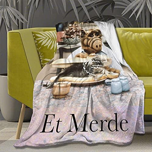 Manta de forro polar de franela ultra suave Alf Meow para todas las estaciones, ligera para sala de estar, dormitorio, sofá, colcha de 201 x 60 pulgadas para adolescentes y adultos