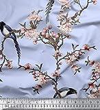 Soimoi Blau Seide Stoff Blumen & Paradise Whydah Vogel