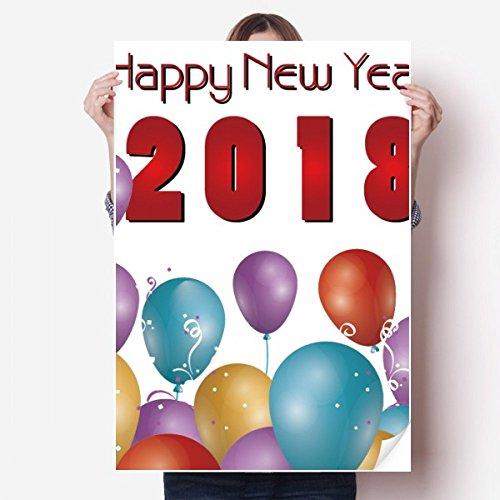 DIYthinker 2018 Ballon Jaar Van De Hond Gelukkig Nieuwjaar Vinyl Muursticker Poster Mural Wallpaper Room Decal 80X55Cm