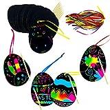 48 PCS di Carta gratta e Vinci di Pasqua Color Arcobaleno Ornamenti di graffio d'uovo appesi Kit artistici Artigianali con Bastone e Nastro di Legno per Bambini bomboniere di Pasqua Decorazioni