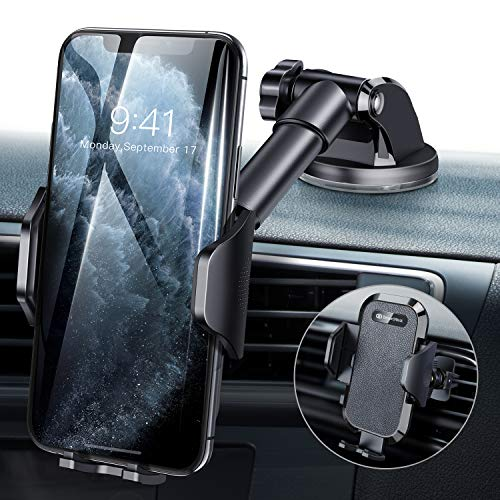 DesertWest Universal Car Phone Mount, Cell Phone Holder for Dashboard Windshield Air Vent, Long Arm Compatible with iPhone 11 Pro Max XR XS X, Samsung Galaxy S11 S10+ S10 S9 Note 10 LG Google More