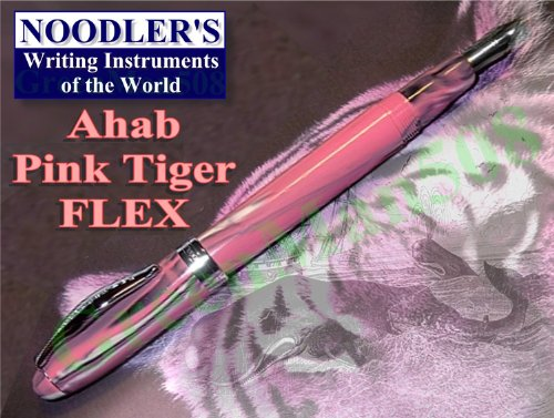Noodler's Ink Ahab Flex Fountain Pen with Twist-Fill Piston, Stainless Steel Fine Nib, Pink Tiger (15038)