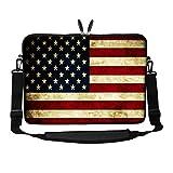 Meffort Inc 15 15.6 inch Neoprene Laptop Sleeve Bag Carrying Case with Hidden Handle and Adjustable Shoulder Strap - USA Flag