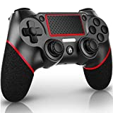 QULLOO Mando para PS4, Joystick Inalámbrico para PS4, Controlador con Vibración Doble / 6-Ejes / Puerto de Audio Remoto / Panel Táctil, Mando Bluetooth para Playstation 4 / Pro / Slim (Rojo)