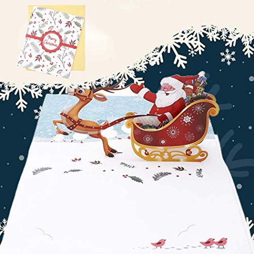 Sethexy 3D Cartoline natalizie Apparire Pupazzo di neve Babbo Natale Biglietti d'auguri con buste Vivid Regali di buon Natale per la famiglia migliore amico fidanzato fidanzata