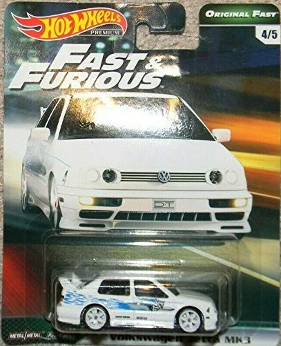 Hot Wheels Compatible Volkswagen Jetta MK3 White 4/5 Premium 2019 Real Riders Fast & Furious Series 1:64 Scale Collectible Die Cast Model Car