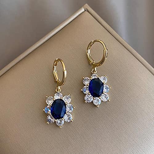 QIN Pendientes de aro de Flores de Color Dorado Vintage, Pendientes de Cristal Blanco de Piedra Azul Femenina para Mujer, Pendientes Grandes, Regalo del Día de la Madre