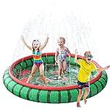 SuSenGo Splash Pad - Alfombrilla de aspersión para niños, tamaño Grande 74.8 'Splash Pad Piscina para niños pequeños Verano al Aire Libre Juguetes acuáticos Juguetes acuáticos inflables (Sandía)