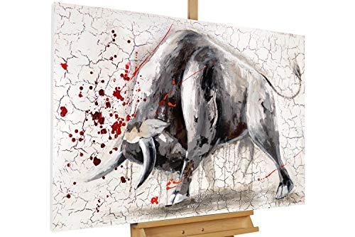KunstLoft® Acryl Gemälde 'Stier gegen Matador' 120x80 | original handgemalte Leinwand Bilder XXL | Stier Grau Rot Tier | Wandbild Acrylbild Moderne Kunst einteilig mit Rahmen
