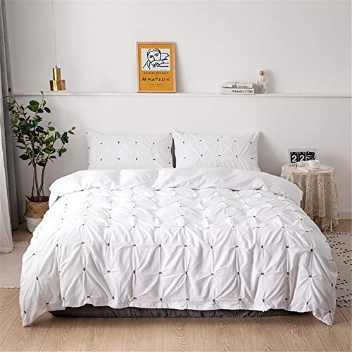 Shamdon Home Collection New Pinch Pleat Pintuck Duvet Cover Set with Zipper Closure includes Pillow Cases,Quilt Cover Set,Single Bedding Set, White