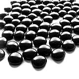 NEEZ Cristal Decorativo Cristal Redondeado Piedras Piedras Cuentas Nuggets Azulejos Gemas para Decoración Floreros de Acuario Inicio (Color Negro-100pcs-500gm)