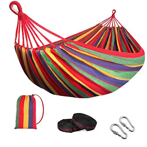 arteesol Hängematte Outdoor 2 Personen, Camping Hängematte Reise, 190 x 150 cm Baumwolle Hängematten, Belastbarkeit bis 250 kg, für Draußen Drinnen Garten Terrasse