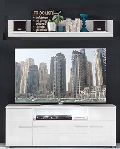 trendteam VIS85201 TV Möbel Lowboard Weiß Hochglanz + Wandboard Weiß Matt, Lowboard BxHxT 131x52x45 cm, Wandboard BxHxT 130 x 22 x 18 cm - 3