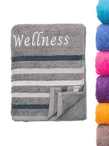 Strandtuch Saunatuch Badetuch 80x200 cm 100% Baumwolle in Verschiedene Designs, Wellness Anthrazit
