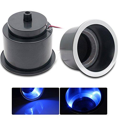 MASO Tasse Support à Boisson LED, 12 V Bleu lumière LED Lampe Marine Bateau Camion de Voiture Camper ABS Lot de 2