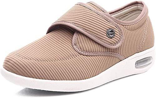 B/H Zapatillas para DiabéTicos con Espuma,Zapatos para pies hinchados en otoño, Zapatos para diabéticos con Velcro-Amarillo_36,Zapatilla DiabéTica Sin Cordones para Mujer