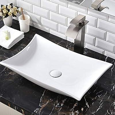 "SHACO Contemporary 22.44"" X 14.57"" Porcelain Ceramic Above Counter Bathroom Vessel Sink, Countertop Bowl Lavatory Vanity Big Bathroom Sink"