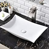 SHACO Contemporary 22.44' X 14.57' Porcelain Ceramic Above Counter Bathroom Vessel Sink, Countertop Bowl Lavatory Vanity Big Bathroom Sink