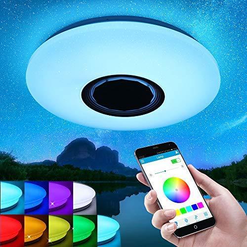 Viitech Lamparas De Techo Juveniles, Plafón LED RGB con mando a distancia y altavoz Bluetooth, plafón regulable 36cm 60 W 220 V, apto para techos de baños, cocinas y pasillos